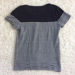 J. Crew Tops - J. Crew Linen Engineered Stripe Navy Tee